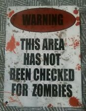 Warning This Area Has Not Been Checked...  -  Vintage / Retro Metal Wall Hanging