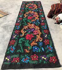 Hand Woven Needlework Vintage Wool Kilim Kilm Area Runner 10 x 3 Ft