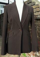 Karen Millen Wool Blend Pinstripe Brown Jacket UK12 EU40 EXCELLENT CONDITION