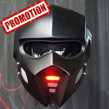 2017 Bat Man Mask Matt Black Motorcycle Helmet Open Face Red Light Custom