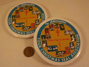 "PAIR original 1970's-?-vintage (Ceramic) A.L.A. ""Christmas Seal COASTERS"" Set!"
