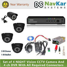 Set of 4 NIGHT Vision 3 Dome 1 Bullet  CCTV Camera And 4 ch DVR with Connectors