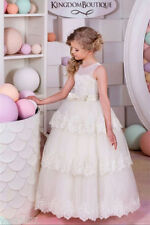 2020 New Little Girls First Communion Dress Sleeveless Lace Flower Girl Dresses