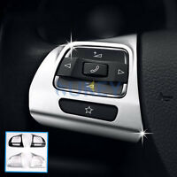 2X FIT FOR VW GOLF 6 PASSAT CC EOS TIGUAN JETTA STEERING WHEEL CHROME TRIM COVER