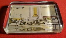 1933 Chicago Worlds Fair Glass Paperweight Federal Building Goodyear Blimp w1063