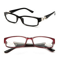Fashion Reading Glasses w/ Rhinestone Temple Rectangular Frame Readers
