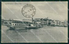 Brescia Desenzano Lago di Garda Battello RIFILATA cartolina QT4789