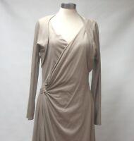 MAX MARA ITALY BEIGE WOOL BLEND ASYMMETRIC DRESS UK10 RN#73136 NET A PORTER