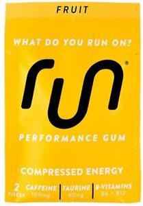 RUN GUM Fruit Energy 50mg Caffeine Per Piece 12 pkts, 24pieces Free Ship BB12/20