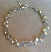 Pearl and Herkimer diamond bracelet with silver, natural white pearls