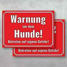 """2 Aufkleber 14,8 x10,5cm """"Warnung vor dem Hunde!"""" Sticker Achtung Gefahr Hinweis"""