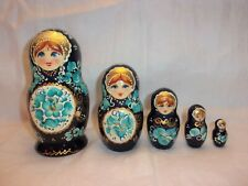 Beautiful Cobalt Blue Vintage Russian Nesting Dolls - 5 Handpainted, Gold Signed