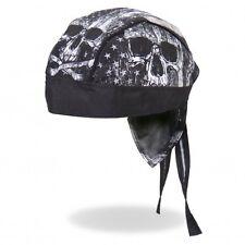 Black Skull USA American Flag Premium Head Wrap Biker Durag Sweatband Mesh Lined