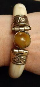 Antique Handmade Turkish Brass Indigenous Ethnic Bracelet Size Average