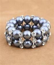 Stunning Tahitian Pearl Bracelet with Diamantes Stretch Gatsby Costume Bridal