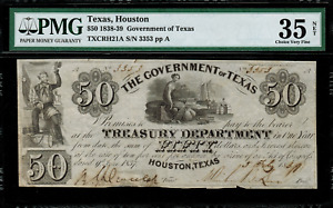 1838-39 $50 Obsolete - Houston, Texas - Government of Texas - Graded PMG 35 NET