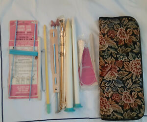 VINTAGE ZIPPERED KNITTING NEEDLE  CARRY CASE, FLORAL FABRIC, LOTS OF NEEDLES