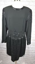 Vintage Lillie Rubin 14 Black Beaded Flapper Back Zip Dress