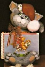 CERAMIC BISQUE KITTY/CAT CHRISTMAS CARD HOLDER - READY TO PAINT