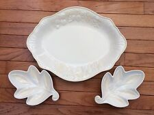 "Lenox Butler""s Pantry Fruitier 16"" Oval Platter & 2 Italia Leaf Dip Snack Bowls"
