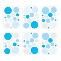 136 Wandtattoo Punkte-Set blau - 96 Stück - Sticker für Kinderzimmer Baby Möbel