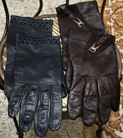 2 Pairs Vintage Women's Leather Gloves Dark Brown Black from the 50's Sz S