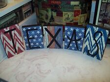 Texas state letter blocks sign home decor wall decor red white and blue stars