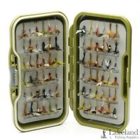 Waterproof Fly Box + Mixed Winged Dry Flies for Trout Fly Fishing, Sizes 10-14