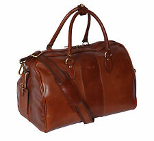 Genuine Leather Holdall Weekend Cabin Travel Gym Sports Duffle Bag Chestnut
