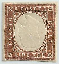 SARDEGNA 1855 Lire 3 BRONZO EFFIGE CAPOVOLTA TL RIMANENZA DI STAMPERIA