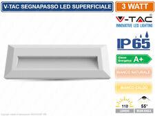 V-TAC VT-1162 FARETTO SEGNAPASSO LED RETTANGOLARE COLORE BIANCO 3W ESTERNO IP65