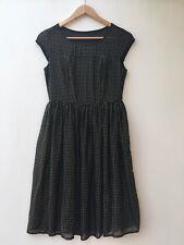 WHITE HOUSE BLACK MARKET Designer Luxury Gold Metal Polka Dot Dress Size 2/ 8 AU