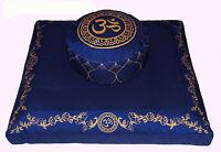 """Meditation Cushion Zafu Buckwheat Pillow & Zabuton Cushion Floor Mat Set """"Om"""""""