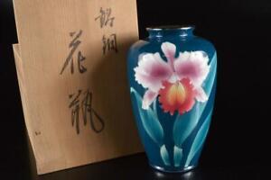 P6213: Japanese Cloisonne-ware Flower Muffle painting FLOWER VASE Ikebana w/box