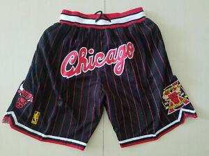 New Chicago Bulls Just Don Retro Men Black Pinstripe Basketball Shorts