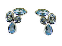 Blue 925 Sterling Silver genuine gorgeous Blue Topaz jewelry Earring AU gift