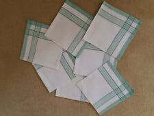 More details for 7 x vintage green and white linen napkins - 15