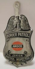 Old Promotional Tin Toy Badge Amoco Gasoline Border Patrol Junior Inspector