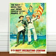 "Vintage War Propaganda Poster Art ~ CANVAS PRINT 36x24"" The Navy Needs You"
