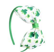 St. Patrick Day Kids Shamrock Clover Hairband Bow Green Satin Band  Headwear