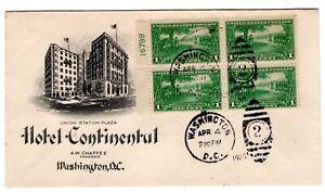#617 Lexington - Concord 1c Plate Blk/4  Washington DC 1925 on Hotel Cover