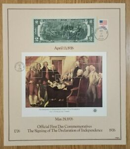 Official First Day Signing Declaration of Independence 1976 Sheet with $2 Note