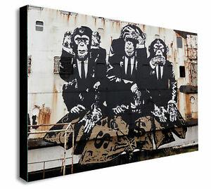 Banksy three wise monkeys canvas wall art Wood Framed Ready to Hang XXL print