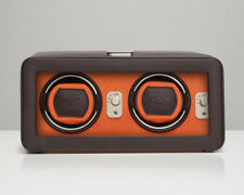 WOLF Windsor 2.5 Double Automatic Watch Winder with Cover Box Case Brown Orange