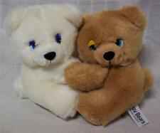 "RUSS Vintage LUV BEARS WHITE & BROWN TEDDY BEARS HUGGING 6"" Plush STUFFED ANIMAL"