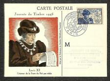 FRANCE SCOTT B196 STAMP DAY SAINT LOUIS XI MAXIMUM CARD FDC POSTCARD 1945