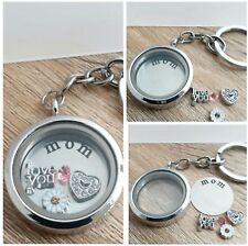 Personalised Gift for Mum/Mom Living Memory Locket + Charms Keyring/Keychain