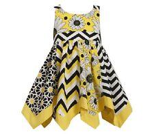 NWT Bonnie Jean Girl 2T Yellow Black Chevron Print Hanky Hemline Dress Sundress