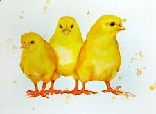 """Watercolor chickens hen original 8""""x11"""" bird art by Anne Gorywine"""