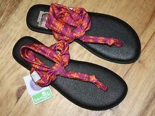 SANUK YOGA SLING WOMENS FLIP FLOP SANDAL SIZE 9 YOGA MAT FOOTBED SOUTHWEST PRINT